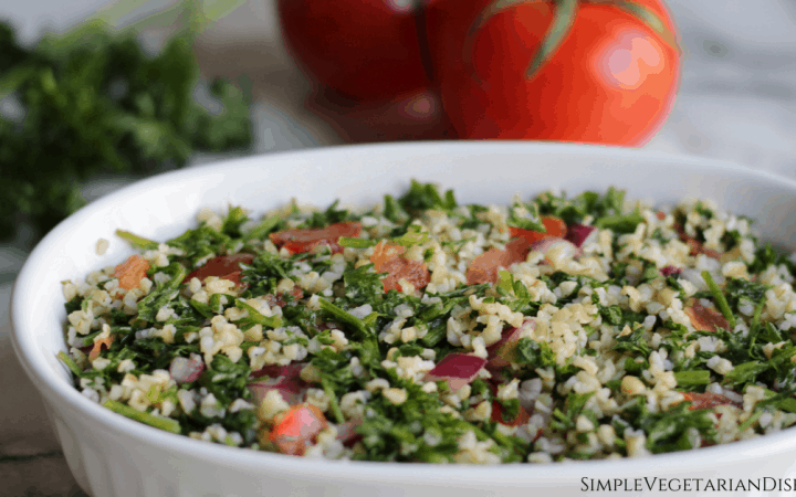 taboule salad in white serving dish