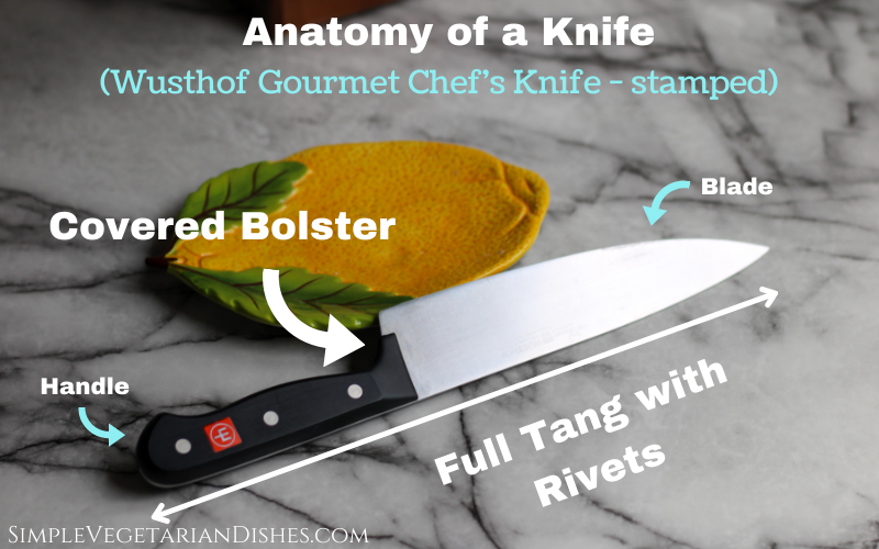 anatomy of a knife covered bolster full tang with rivets infographic