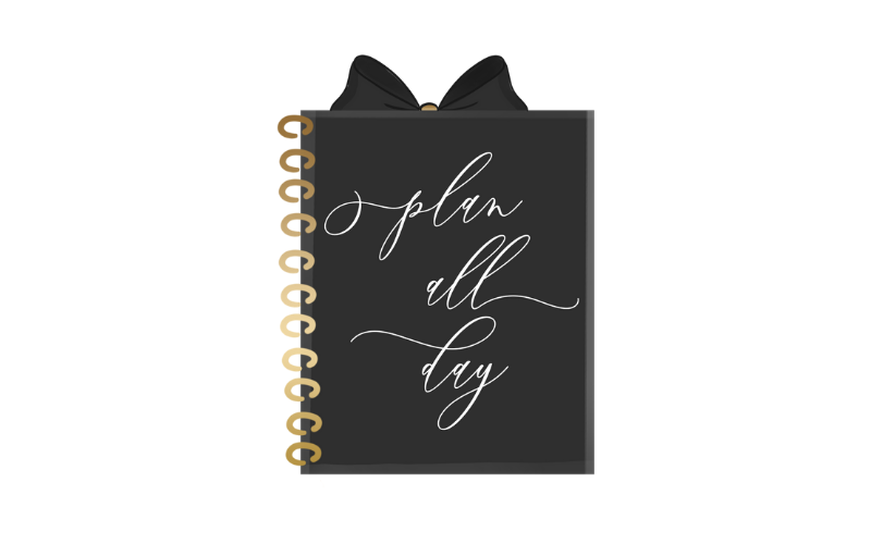 graphic of black planner with gold spiral binding