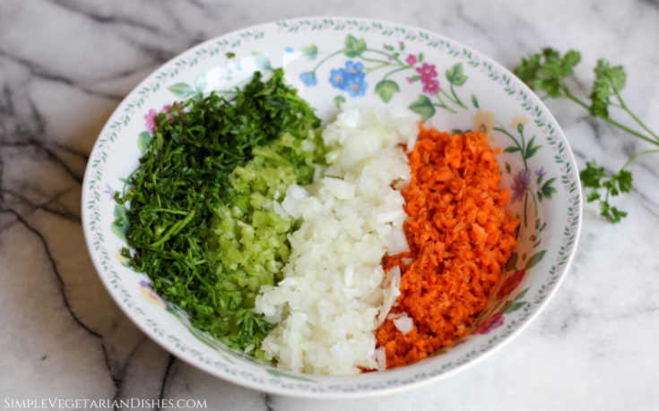 battuto in floral bowl parsley celery onion carrot finely diced